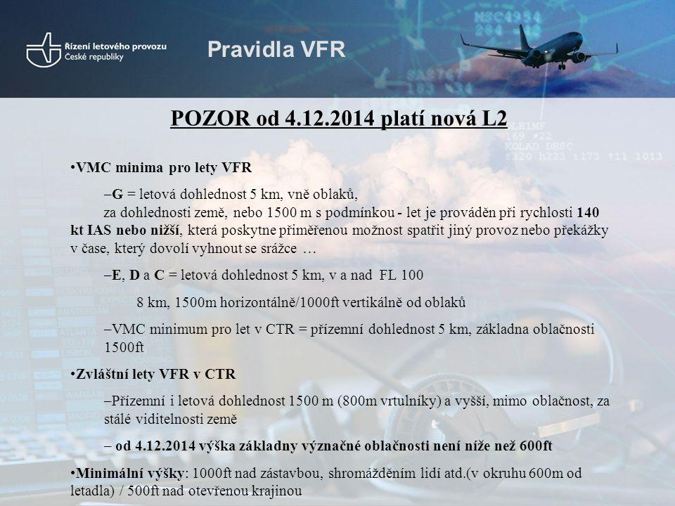 Pravidla VFR POZOR od 4.12.2014 platí nová L2 VMC minima pro lety VFR