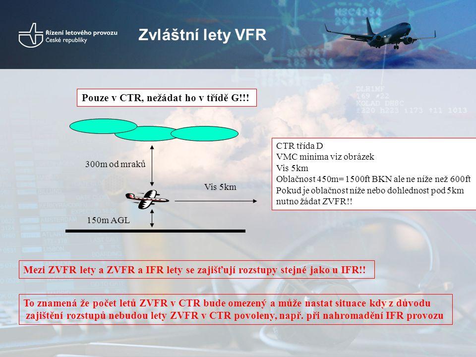 Zvláštní lety VFR Pouze v CTR, nežádat ho v třídě G!!!