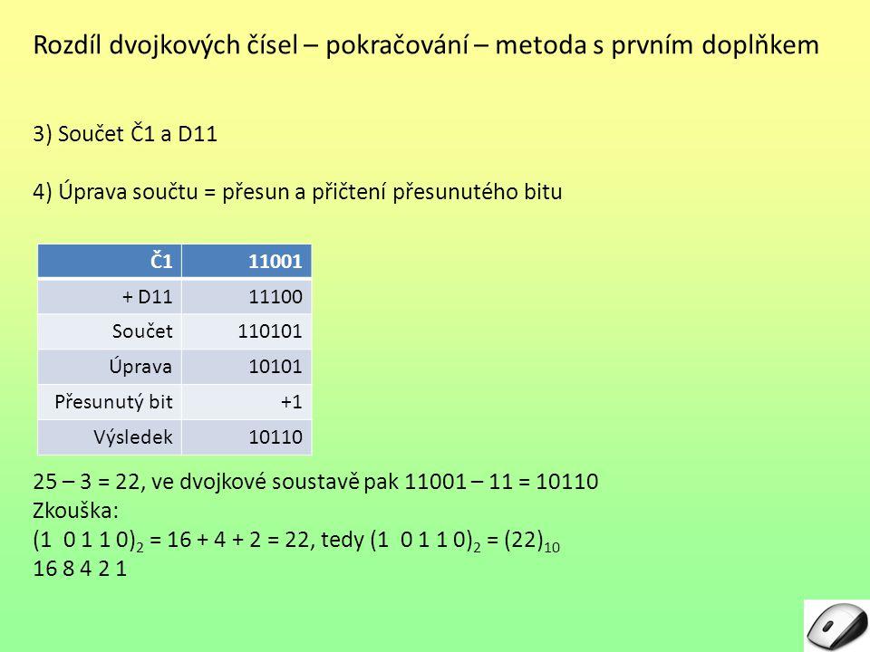 Rozdíl dvojkových čísel – pokračování – metoda s prvním doplňkem