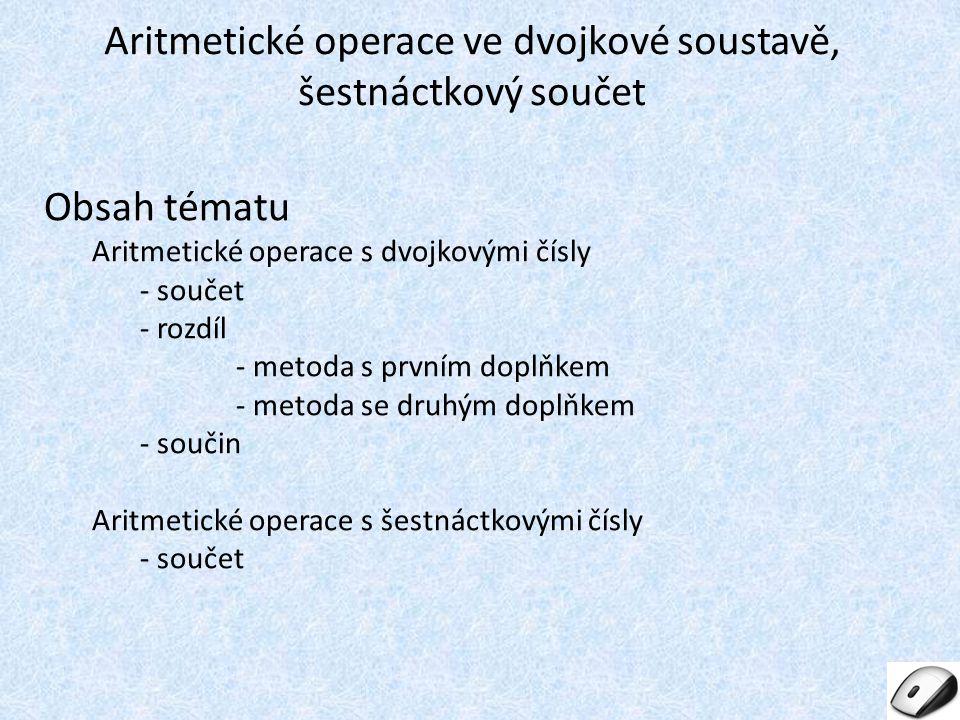 Aritmetické operace ve dvojkové soustavě, šestnáctkový součet