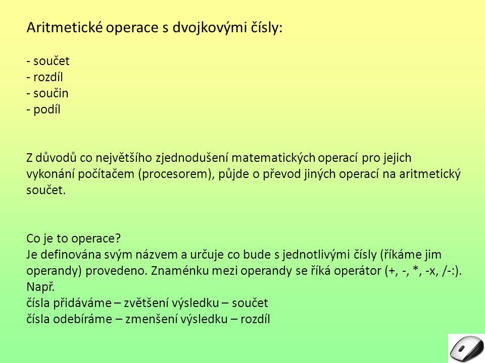 Aritmetické operace s dvojkovými čísly: