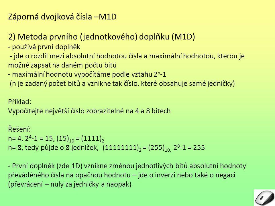 Záporná dvojková čísla –M1D