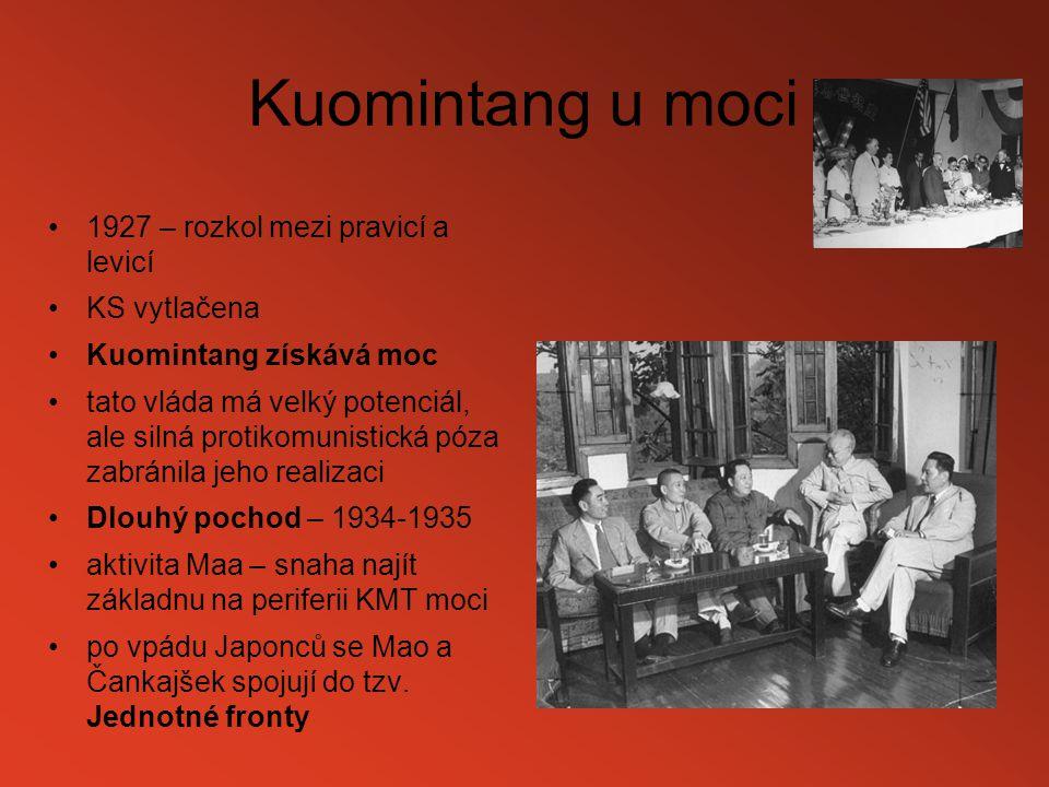Kuomintang u moci 1927 – rozkol mezi pravicí a levicí KS vytlačena