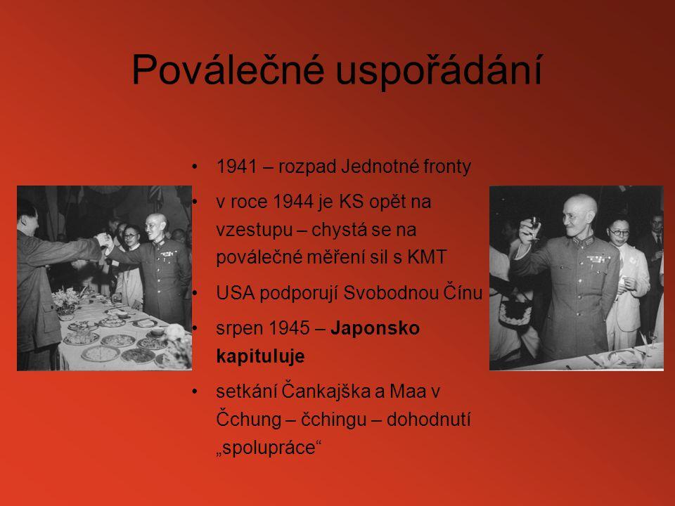 Poválečné uspořádání 1941 – rozpad Jednotné fronty