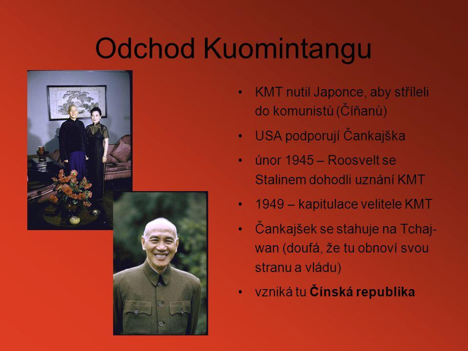 Odchod Kuomintangu KMT nutil Japonce, aby stříleli do komunistů (Číňanů) USA podporují Čankajška.