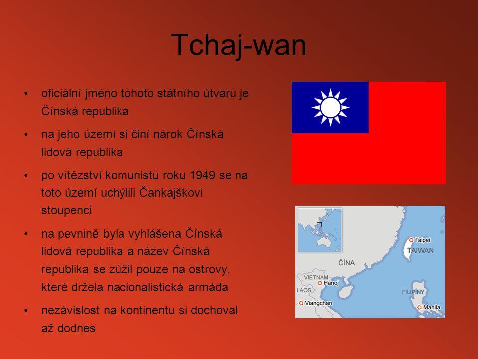 Tchaj-wan oficiální jméno tohoto státního útvaru je Čínská republika