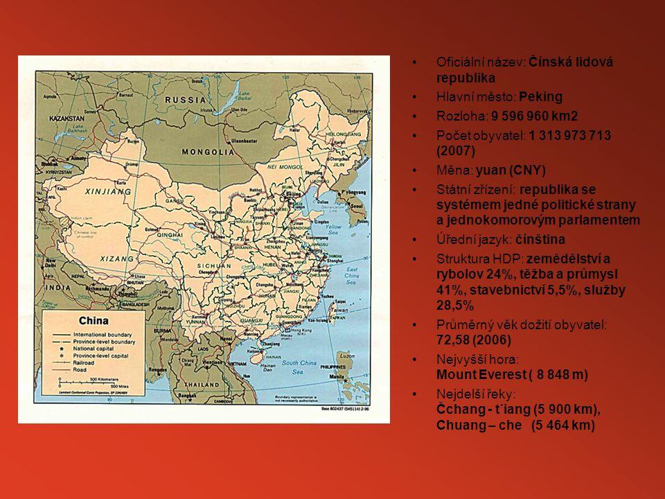 Oficiální název: Čínská lidová republika