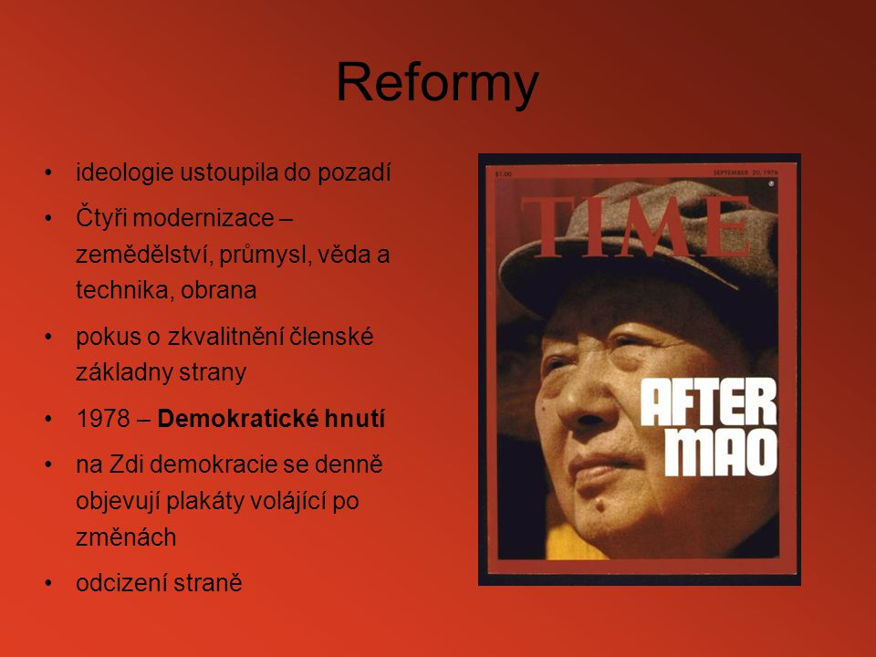 Reformy ideologie ustoupila do pozadí