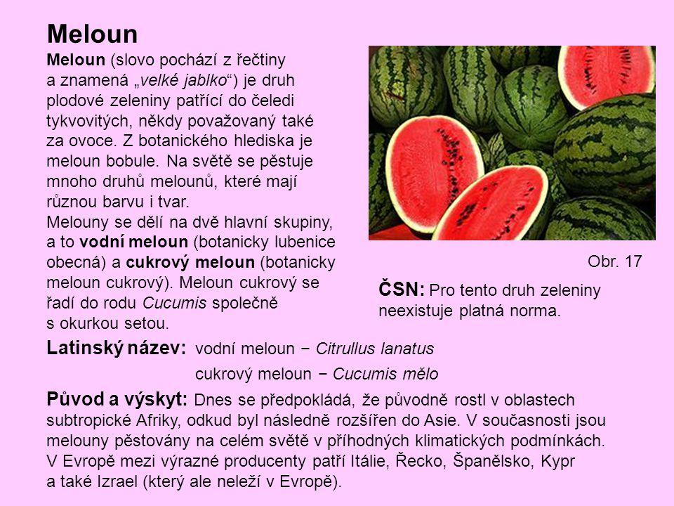 Meloun ČSN: Pro tento druh zeleniny neexistuje platná norma.