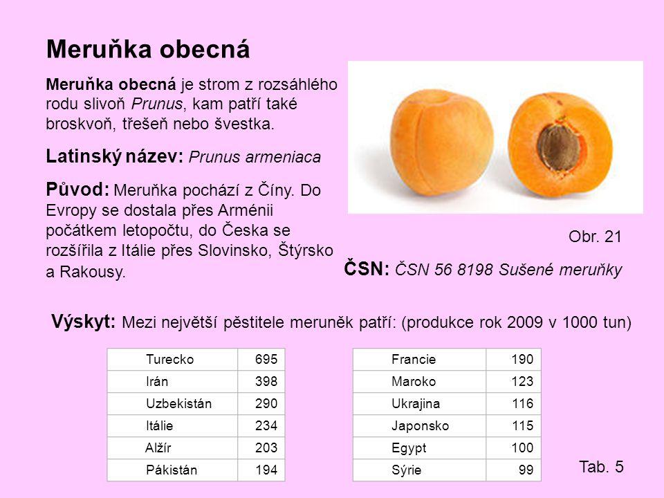 Meruňka obecná Latinský název: Prunus armeniaca