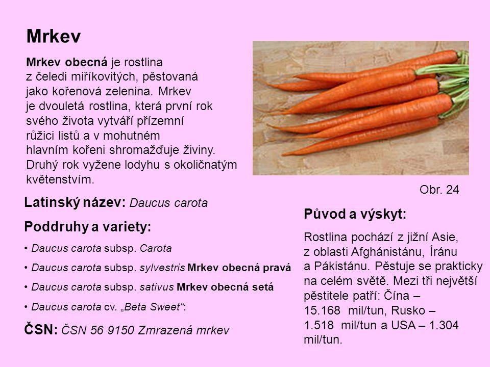 Mrkev Latinský název: Daucus carota Poddruhy a variety: