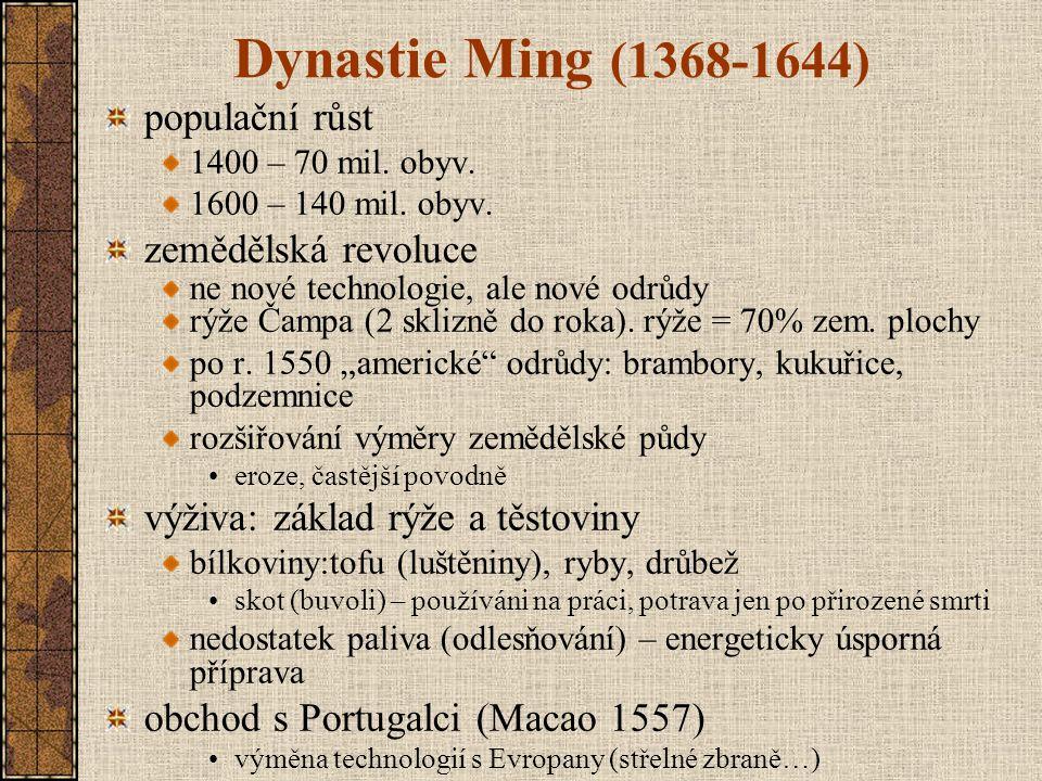 Dynastie Ming (1368-1644) populační růst zemědělská revoluce