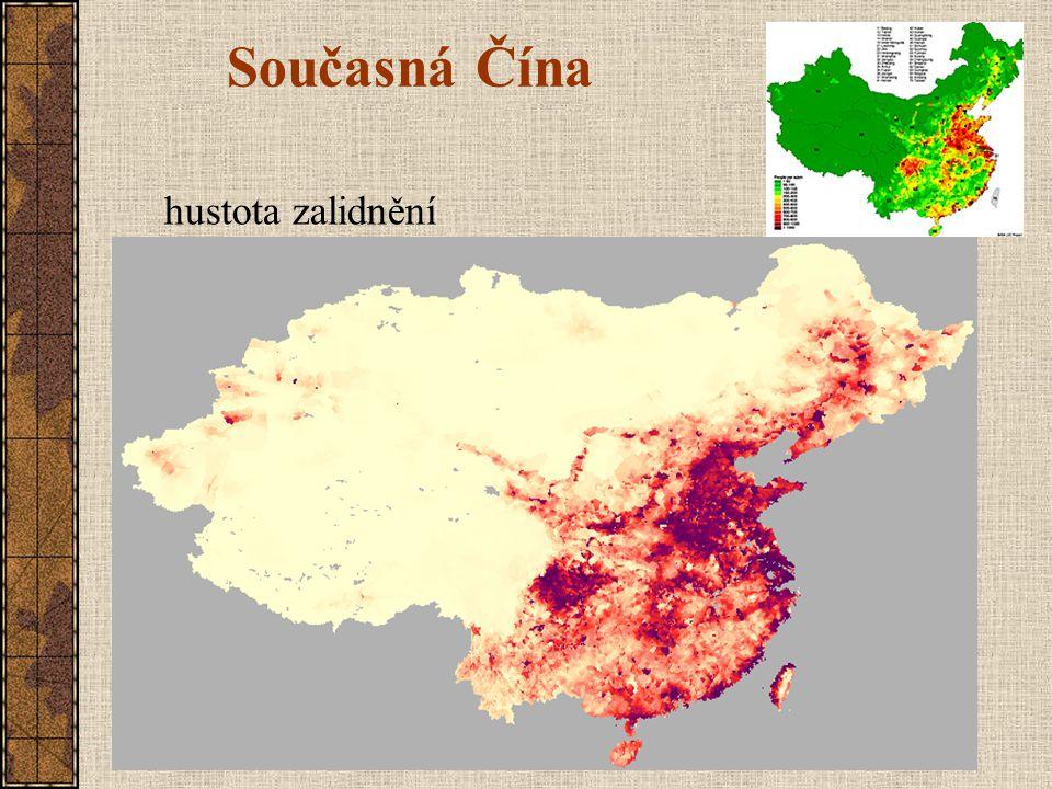 Současná Čína hustota zalidnění