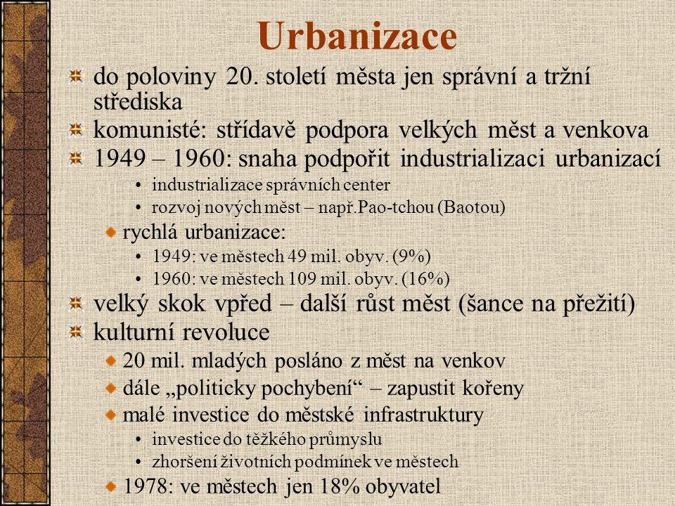 Urbanizace do poloviny 20. století města jen správní a tržní střediska