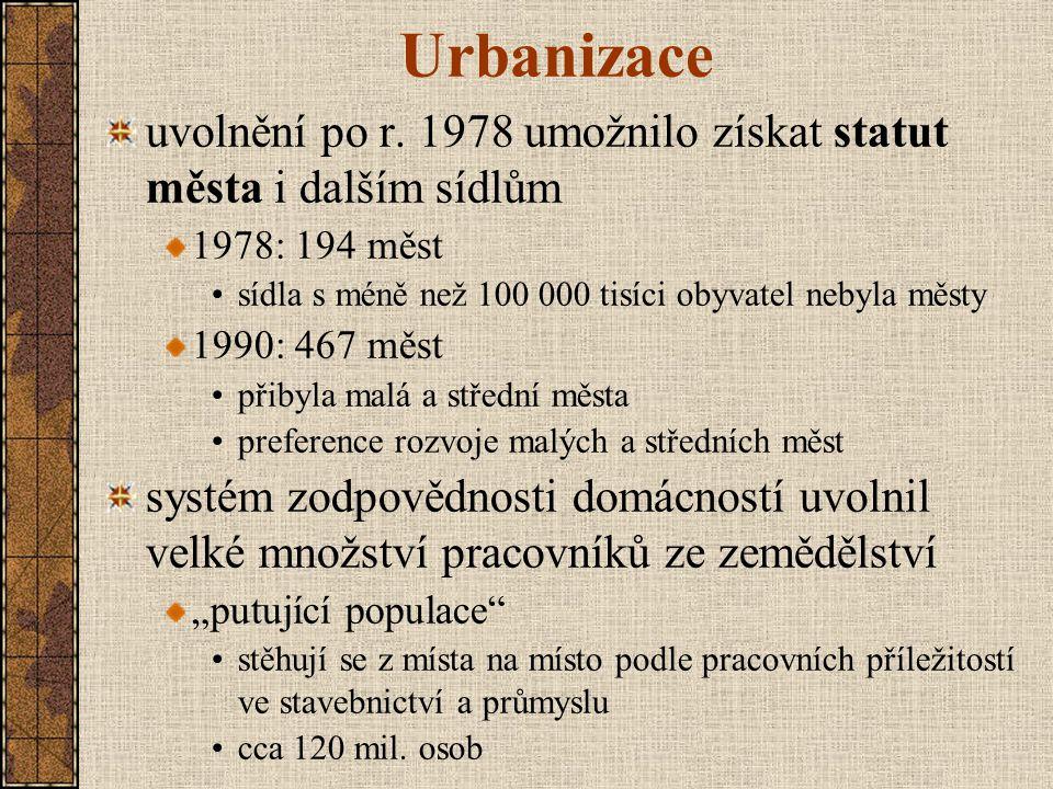 Urbanizace uvolnění po r. 1978 umožnilo získat statut města i dalším sídlům. 1978: 194 měst. sídla s méně než 100 000 tisíci obyvatel nebyla městy.