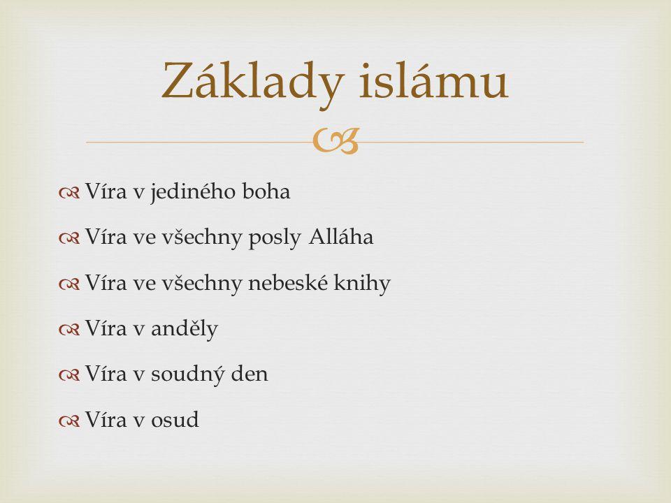Základy islámu Víra v jediného boha Víra ve všechny posly Alláha
