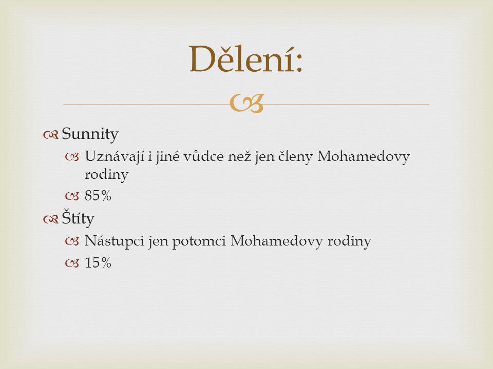 Dělení: Sunnity. Uznávají i jiné vůdce než jen členy Mohamedovy rodiny. 85% Štíty. Nástupci jen potomci Mohamedovy rodiny.