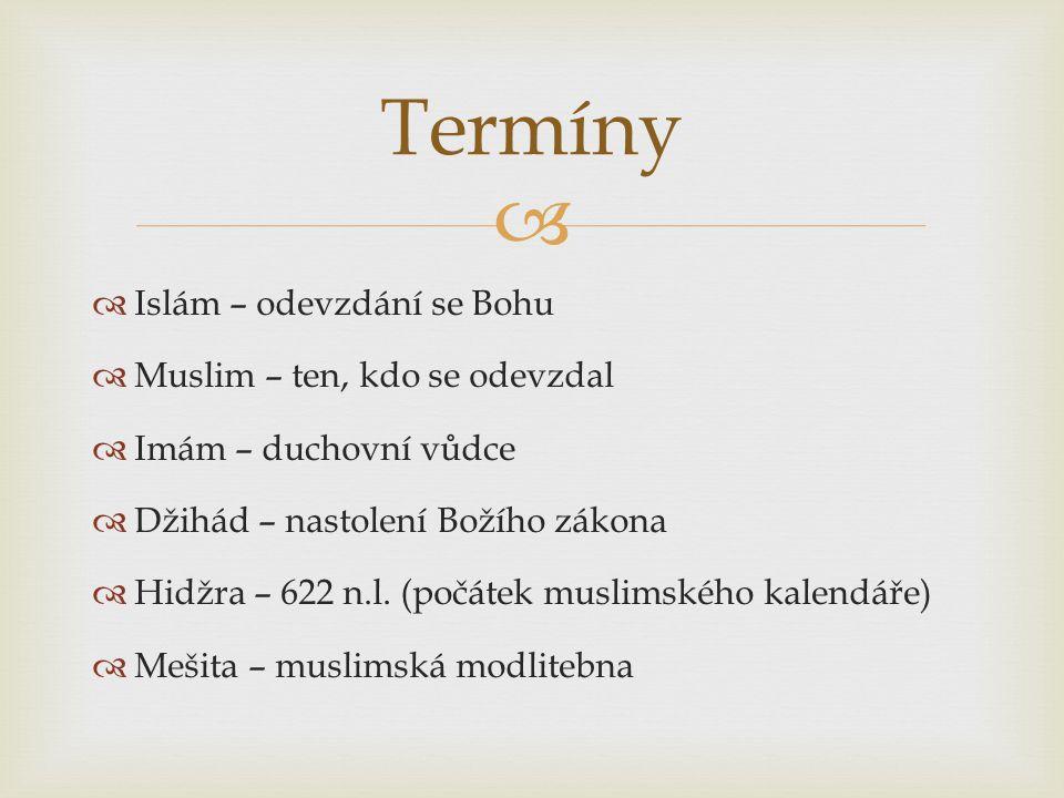Termíny Islám – odevzdání se Bohu Muslim – ten, kdo se odevzdal