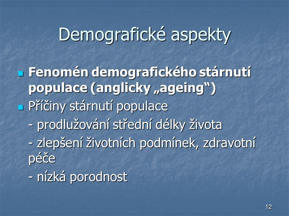"""Demografické aspekty Fenomén demografického stárnutí populace (anglicky """"ageing ) Příčiny stárnutí populace."""
