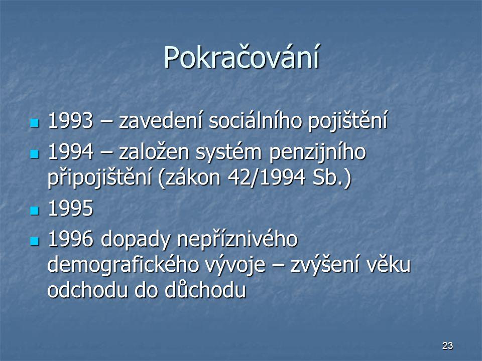 Pokračování 1993 – zavedení sociálního pojištění