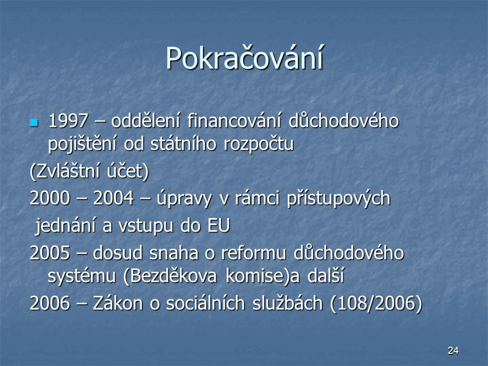 Pokračování 1997 – oddělení financování důchodového pojištění od státního rozpočtu. (Zvláštní účet)