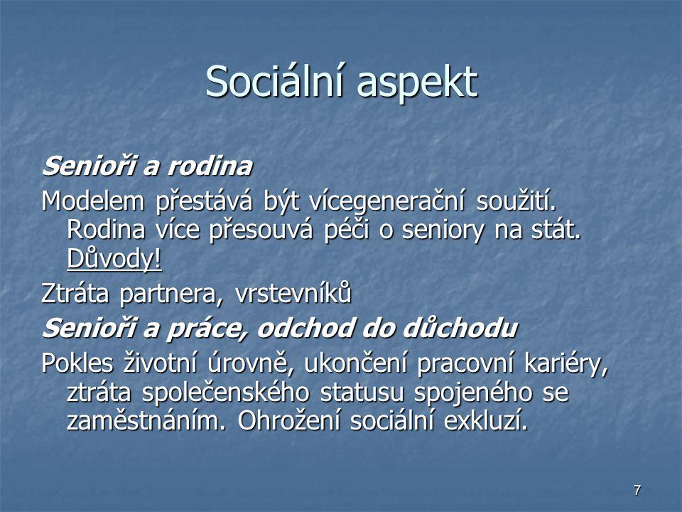 Sociální aspekt Senioři a rodina