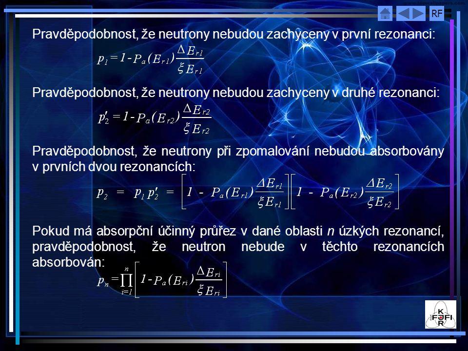 Pravděpodobnost, že neutrony nebudou zachyceny v první rezonanci: