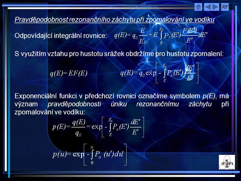 Pravděpodobnost rezonančního záchytu při zpomalování ve vodíku