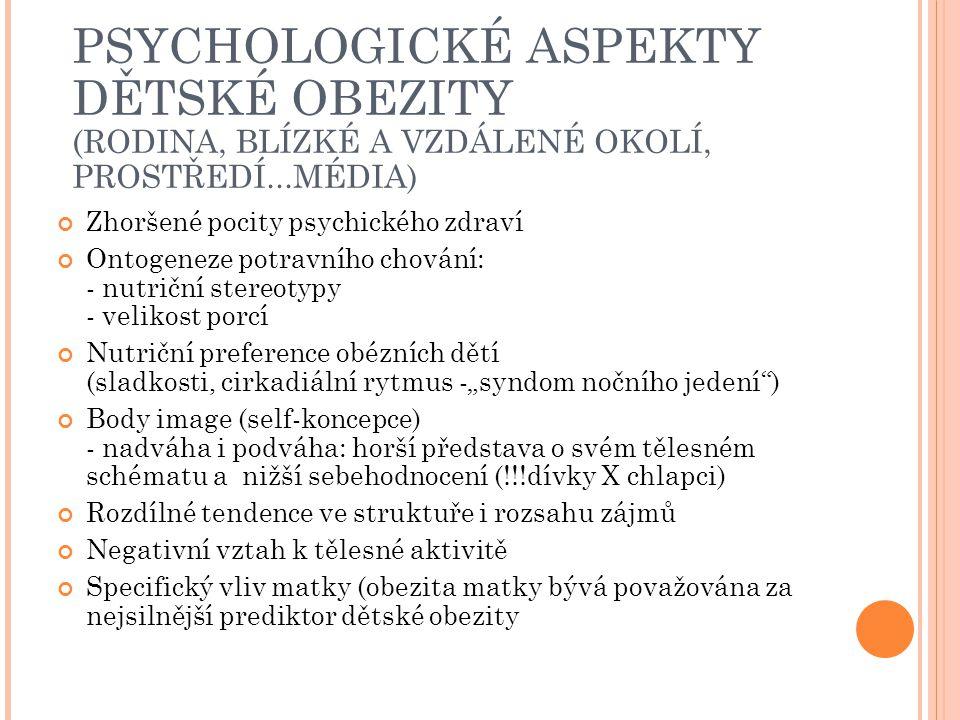 PSYCHOLOGICKÉ ASPEKTY DĚTSKÉ OBEZITY (RODINA, BLÍZKÉ A VZDÁLENÉ OKOLÍ, PROSTŘEDÍ...MÉDIA)