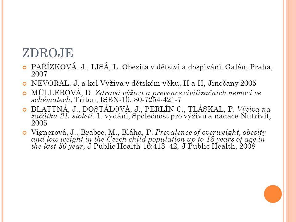 ZDROJE PAŘÍZKOVÁ, J., LISÁ, L. Obezita v dětství a dospívání, Galén, Praha, 2007. NEVORAL, J. a kol Výživa v dětském věku, H a H, Jinočany 2005.