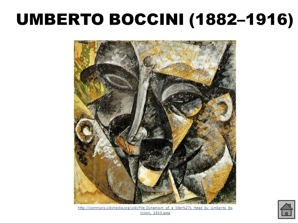 UMBERTO BOCCINI (1882–1916) http://commons.wikimedia.org/wiki/File:Dynamism_of_a_Man%27s_Head_by_Umberto_Boccioni,_1913.jpeg.