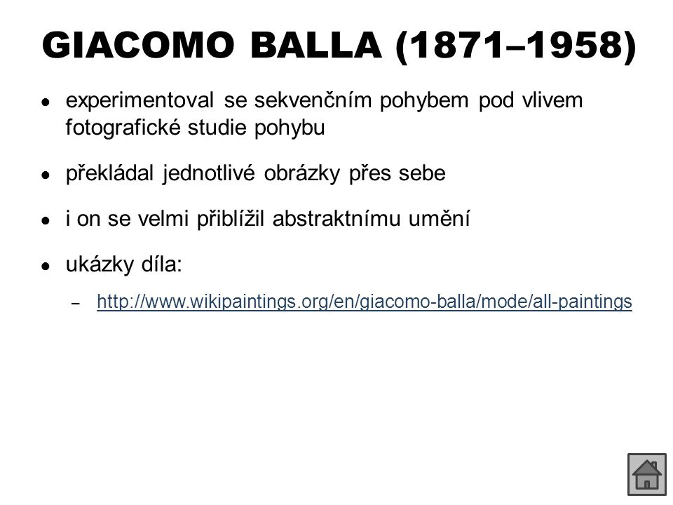 GIACOMO BALLA (1871–1958) experimentoval se sekvenčním pohybem pod vlivem fotografické studie pohybu.