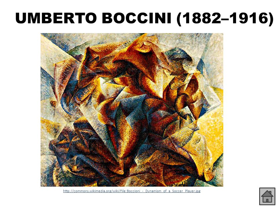 UMBERTO BOCCINI (1882–1916) http://commons.wikimedia.org/wiki/File:Boccioni_-_Dynamism_of_a_Soccer_Player.jpg.