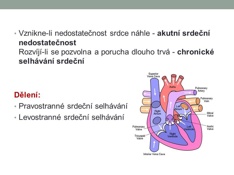 Vznikne-li nedostatečnost srdce náhle - akutní srdeční nedostatečnost Rozvíjí-li se pozvolna a porucha dlouho trvá - chronické selhávání srdeční