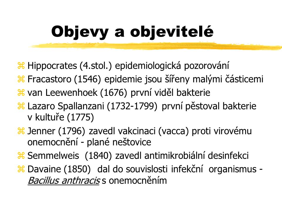 Objevy a objevitelé Hippocrates (4.stol.) epidemiologická pozorování