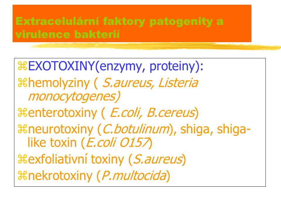 Extracelulární faktory patogenity a virulence bakterií