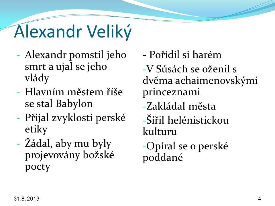 Alexandr Veliký Alexandr pomstil jeho smrt a ujal se jeho vlády