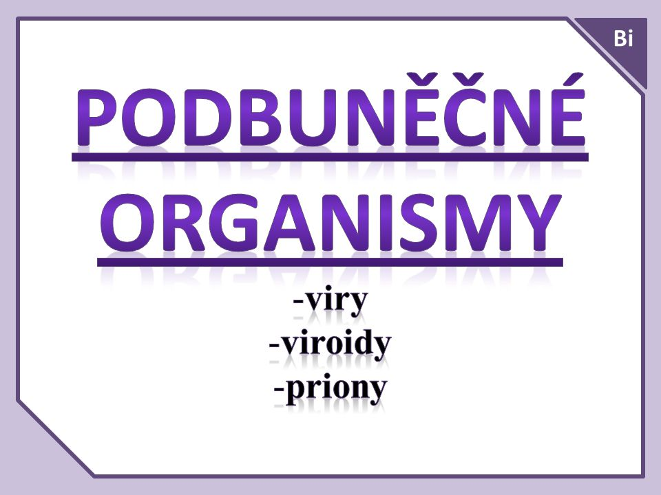 PODBUNĚČNÉ ORGANISMY viry viroidy priony Bi