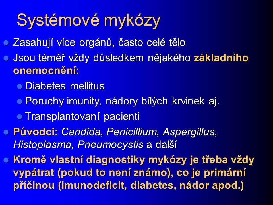Systémové mykózy Zasahují více orgánů, často celé tělo