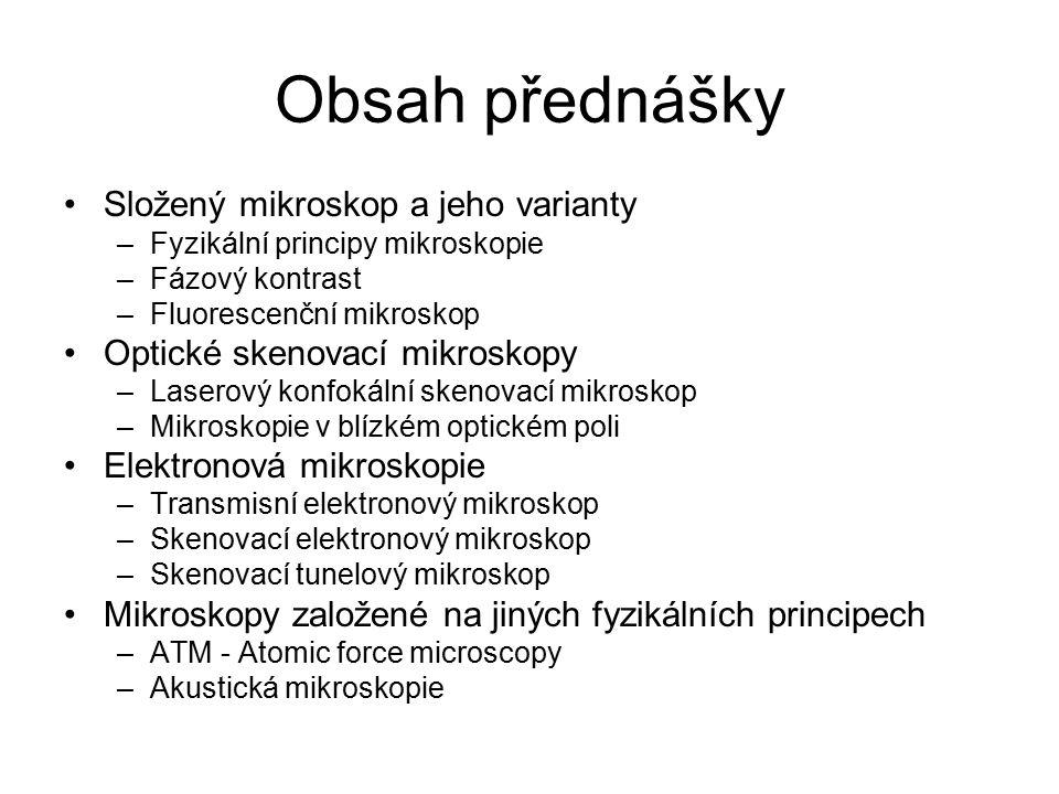 Obsah přednášky Složený mikroskop a jeho varianty