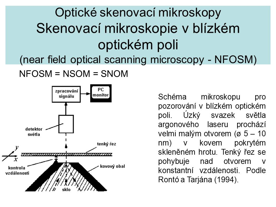 Optické skenovací mikroskopy Skenovací mikroskopie v blízkém optickém poli (near field optical scanning microscopy - NFOSM)