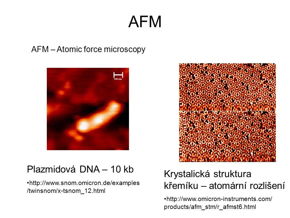 AFM AFM – Atomic force microscopy. Plazmidová DNA – 10 kb. http://www.snom.omicron.de/examples/twinsnom/x-tsnom_12.html.