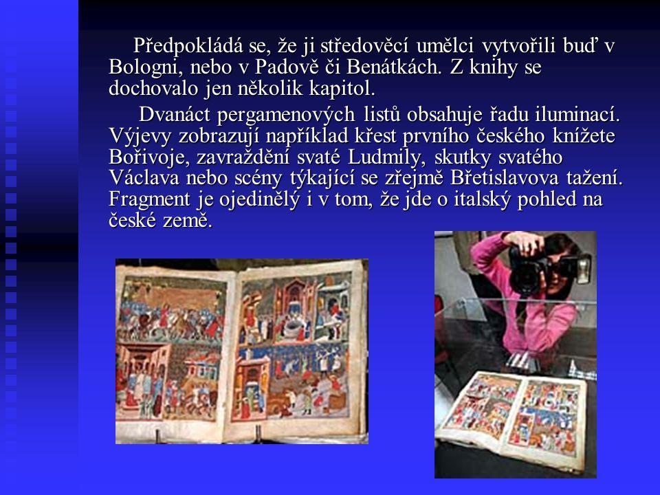 Předpokládá se, že ji středověcí umělci vytvořili buď v Bologni, nebo v Padově či Benátkách. Z knihy se dochovalo jen několik kapitol.