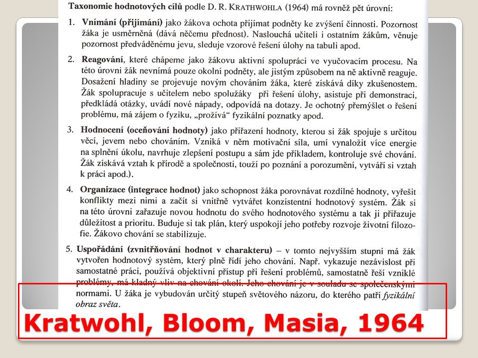 Kratwohl, Bloom, Masia, 1964