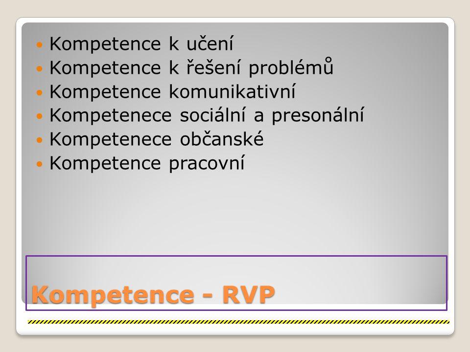 Kompetence - RVP Kompetence k učení Kompetence k řešení problémů