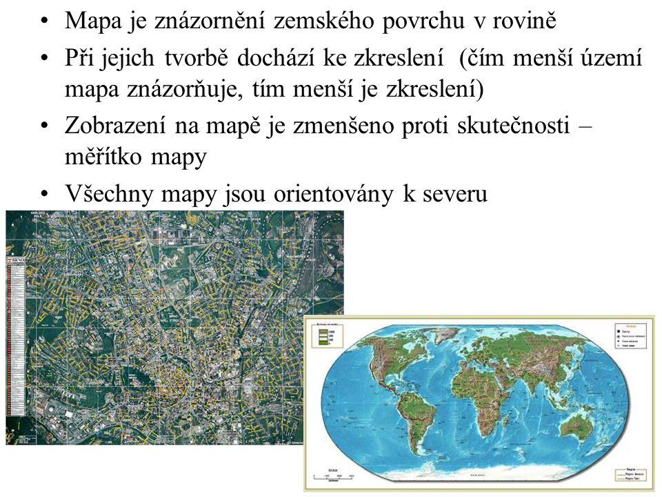 Mapa je znázornění zemského povrchu v rovině