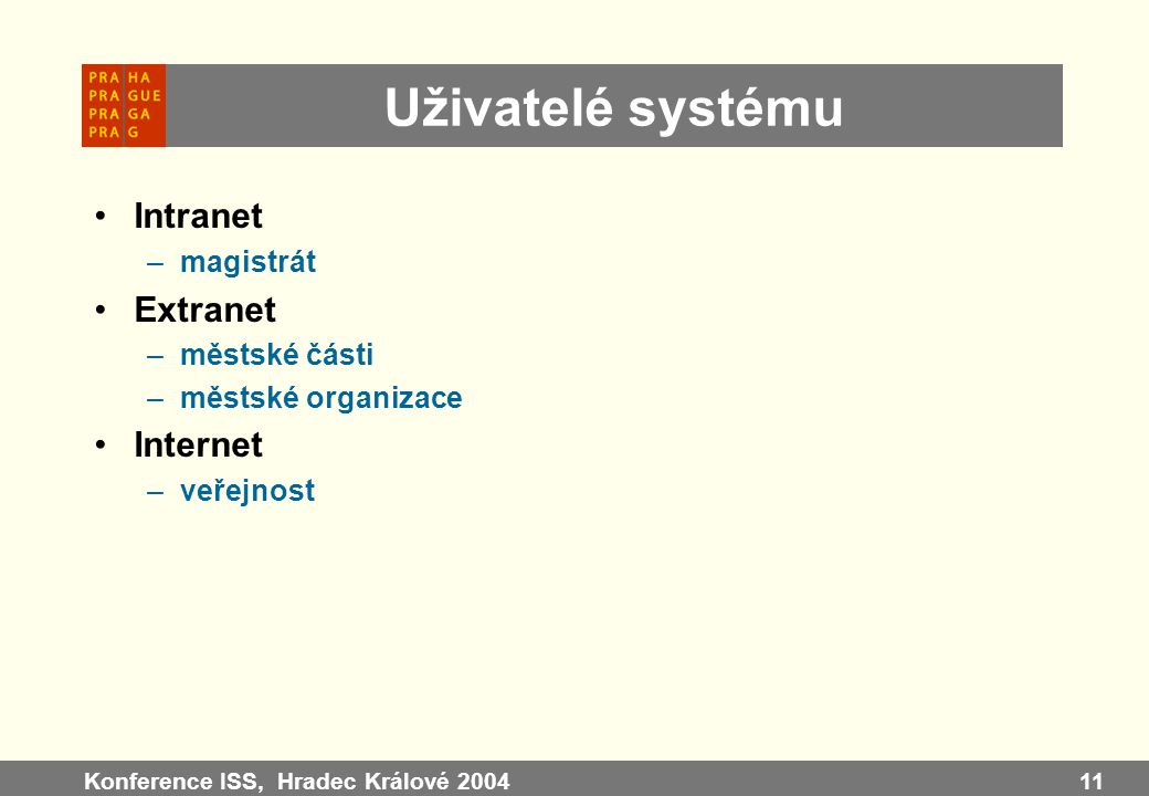 Uživatelé systému Intranet Extranet Internet magistrát městské části