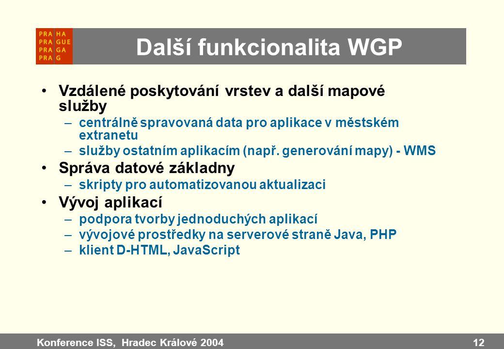 Další funkcionalita WGP