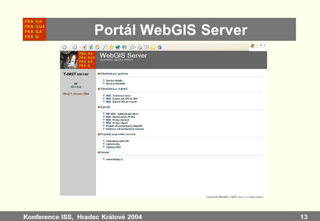 Portál WebGIS Server Konference ISS, Hradec Králové 2004