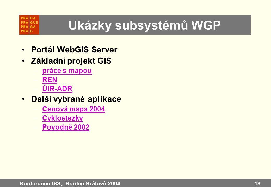 Ukázky subsystémů WGP Portál WebGIS Server Základní projekt GIS